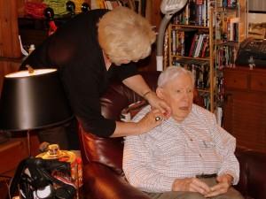 75 year pinning by Carol Palmore for her husband, John.
