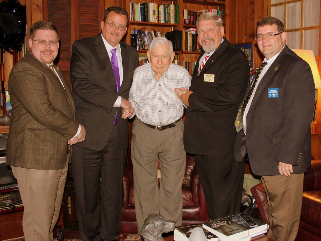 group photo L-R: S.W. Matt McConnell, W.M. Jim DeArmond, John S. Palmore, MWGM Rick Nation, & DDGM #5 James Roll, P.M.